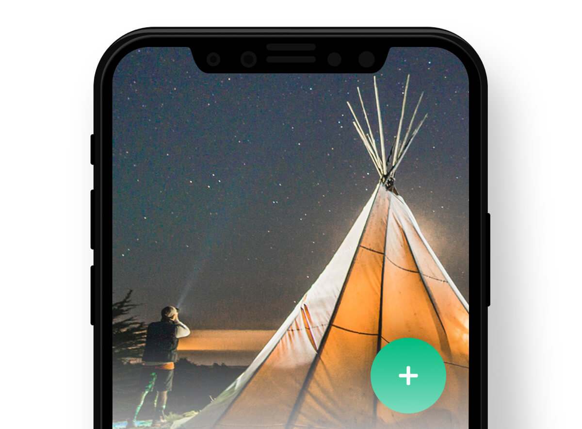 tent shown on a phone